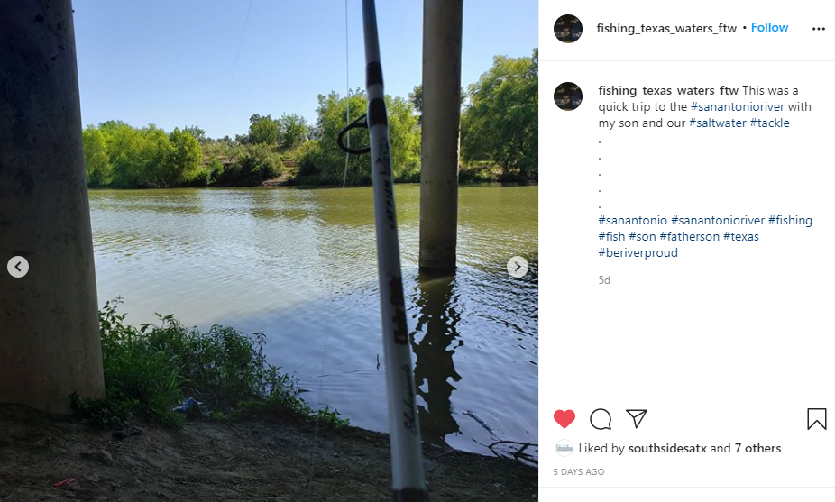 Johnny Cantu's social media post about fishing on the Mission Reach segment