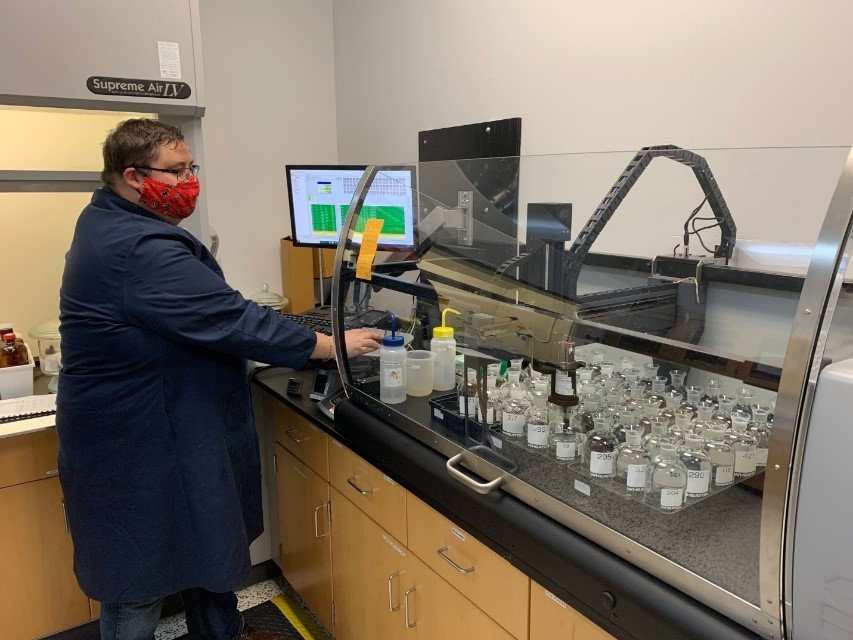 Zachary Jendrusch, Senior Water Quality Scientist performing the CBOD/BOD analysis in support of our wastewater treatment plants.