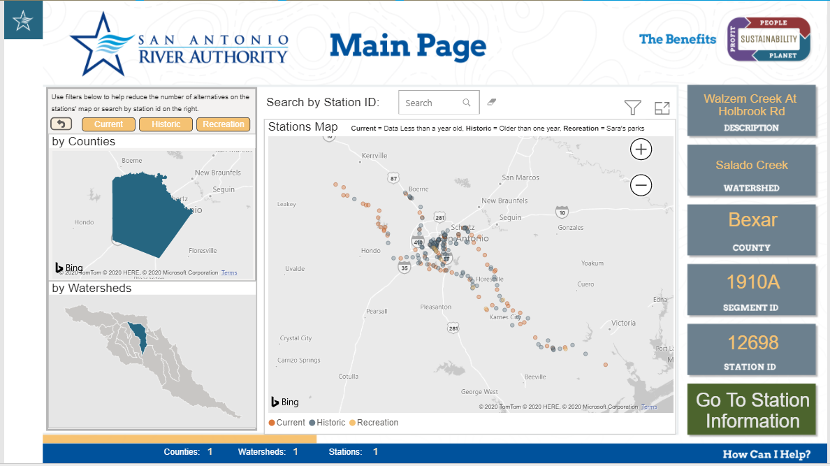 The main page of the River Authority Water Quality Dashboard.