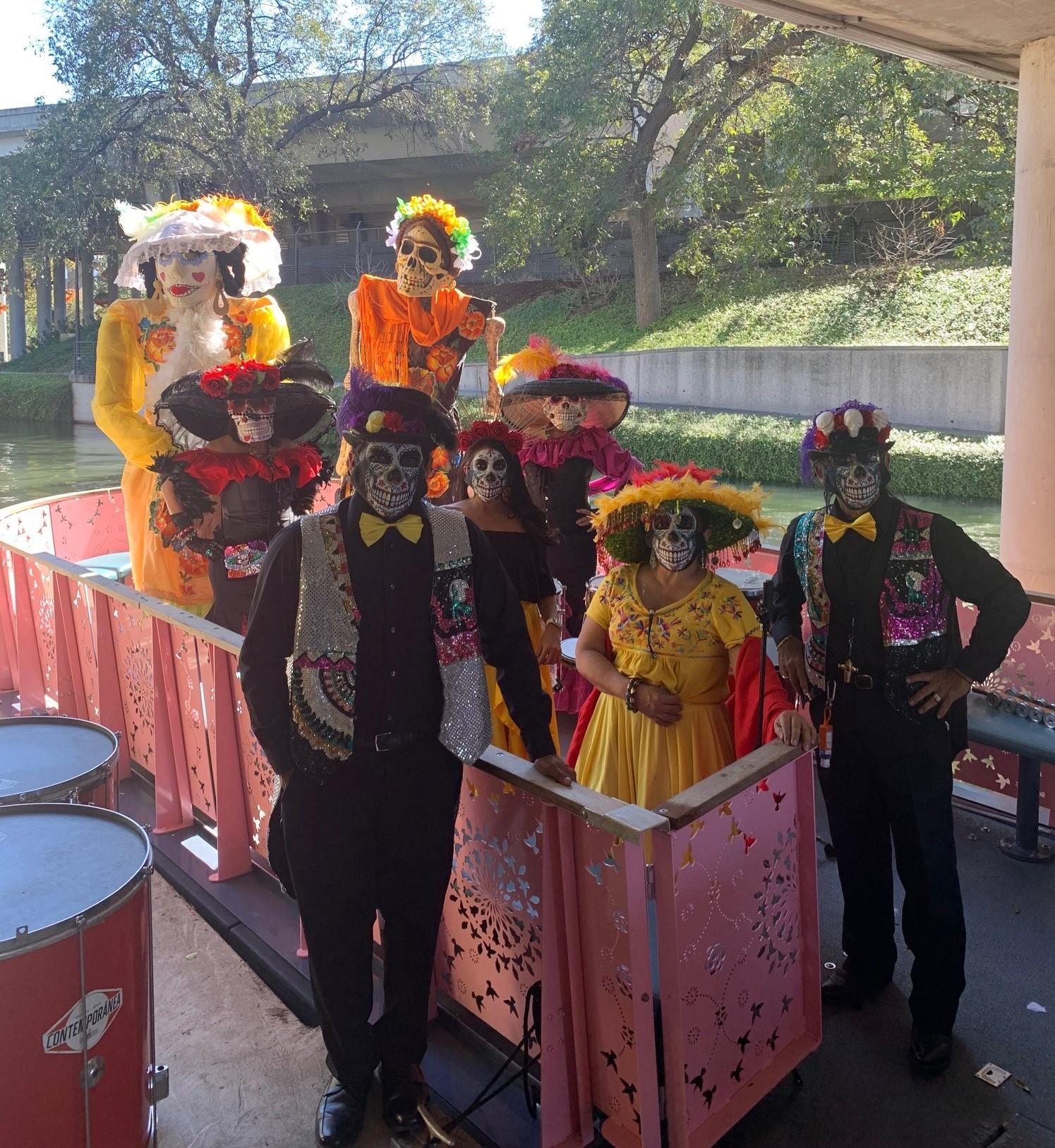 Las Monas Performance Group participates in the River Authority's Dia de los Muertos celebration on Nov. 1, 2020.