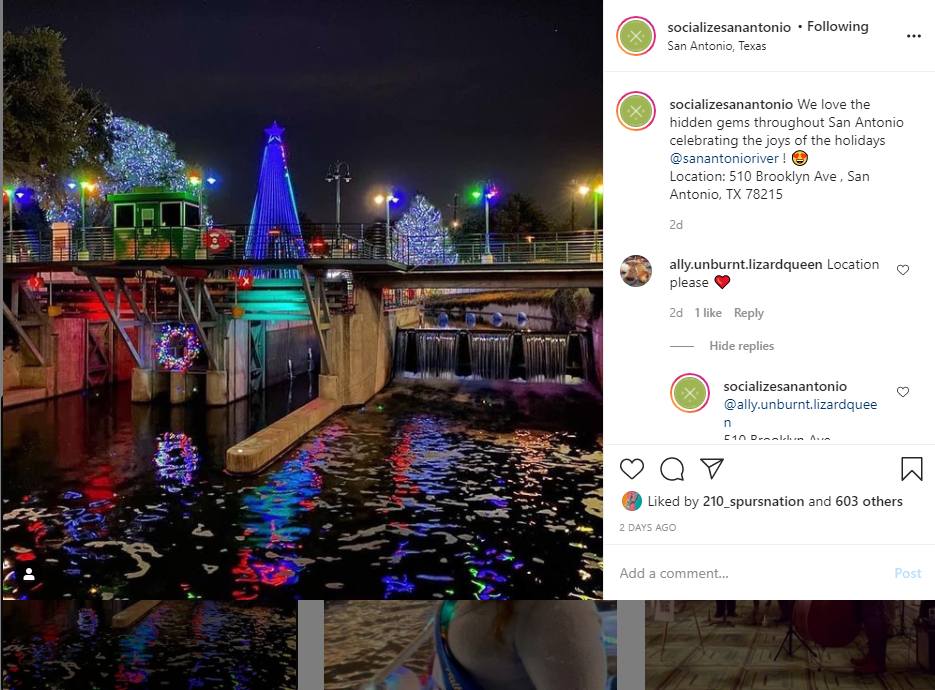 Museum Reach River of Lights photo by Socialize San Antonio Instagram account