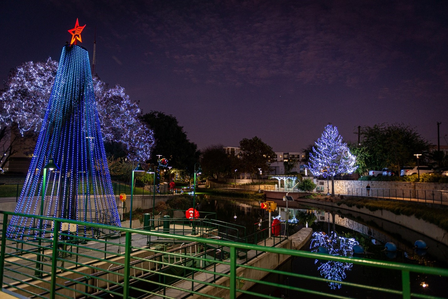 Museum Reach River of Lights 30 ft. Musical Holiday Tree at the Lock & Dam.