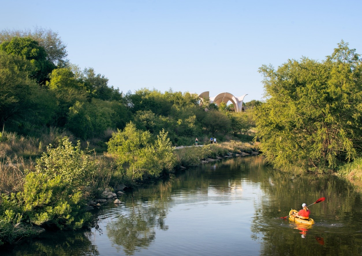 Kayaker on the Mission Reach Paddling Trail near Confluence Park.