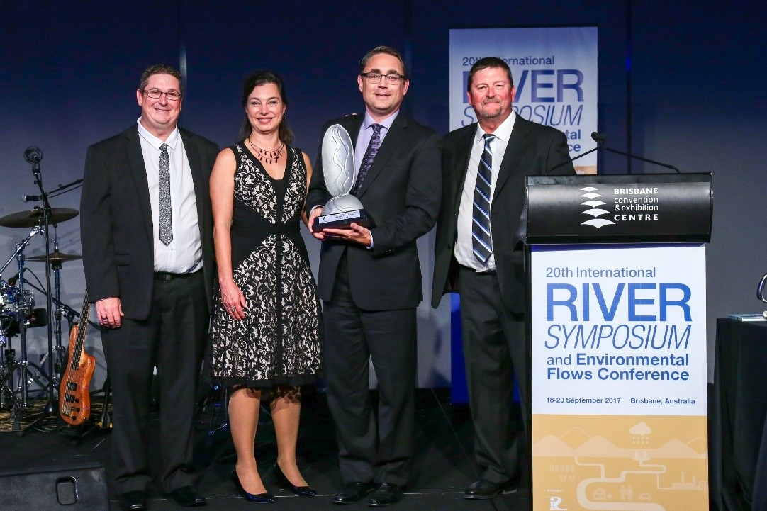 River Authority accepting the 2017 Thiess International Riverprize at the River Symposium in Australia.