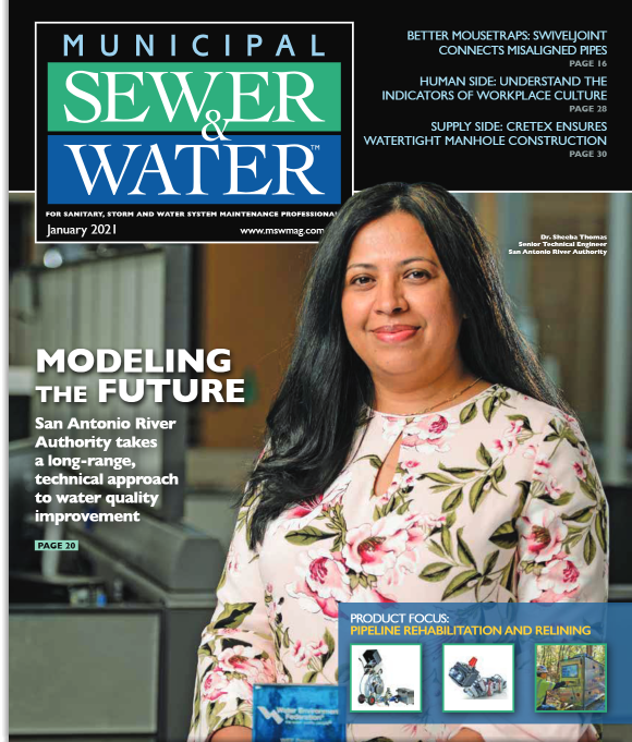 River Authority's Senior Technical Engineer Sheeba Thomas featured in the Jan 2021 issue of Municipal Sewer and Water Magazine.