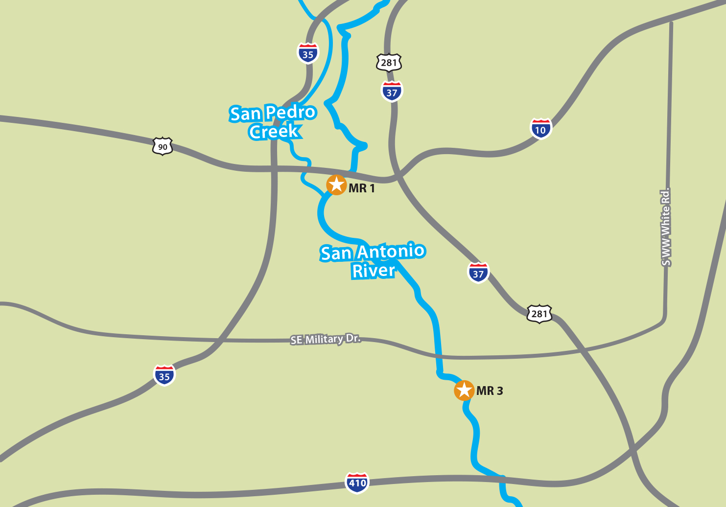 Map showing the two Mission Reach sites and their proximity to downtown San Antonio.