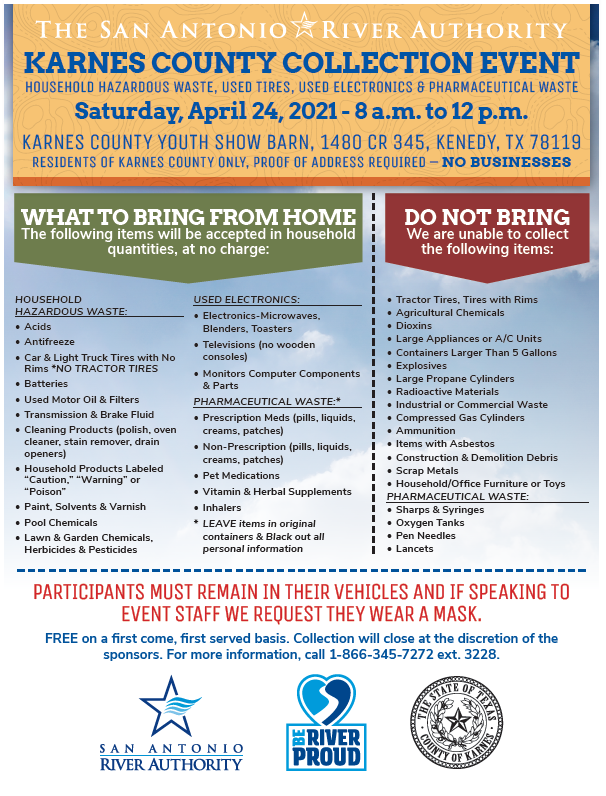 Karnes County HHW Collection Event Flyer- Event April 24, 2021 at Karnes county youth show barn from 8am to Noon