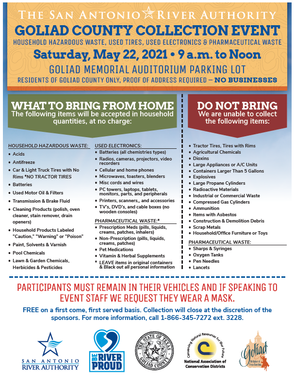 Goliad HHW Collection Event May 22nd from 9am to Noon at Goliad Memorial Auditorium Parking Lot