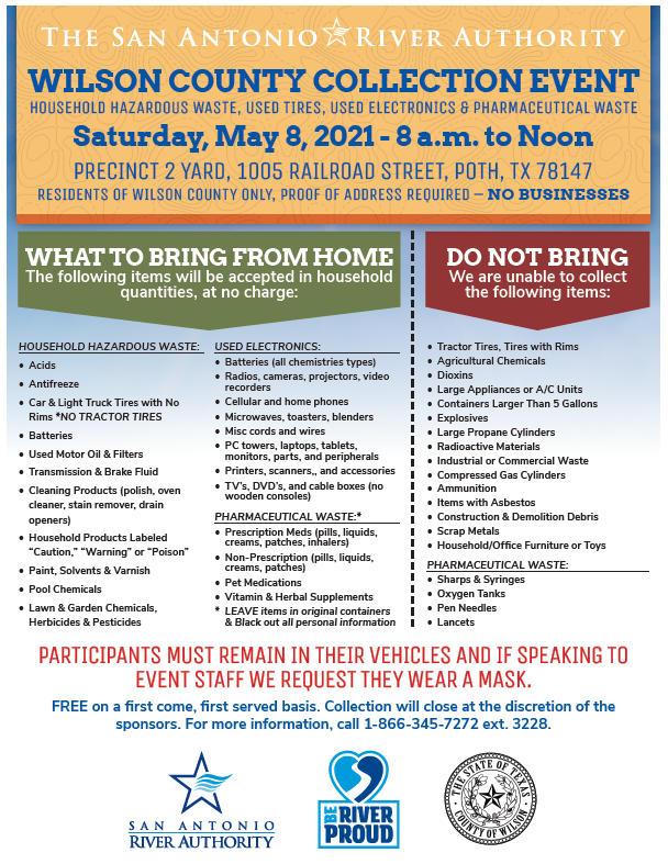 Wilson HHW Collection Event May 8th PCT Yard in Poth 1005 Railroad st.