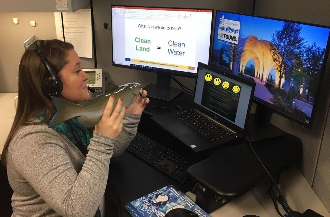 River Authority educator providing a virtual program to elementary students