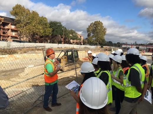 River Authority staff giving a construction tour of San Pedro Creek Culture Park