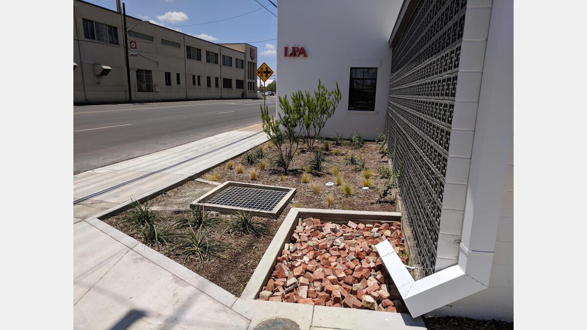 Rain gutter directing rainwater into a bioretention (raingarden) at LPA Studio