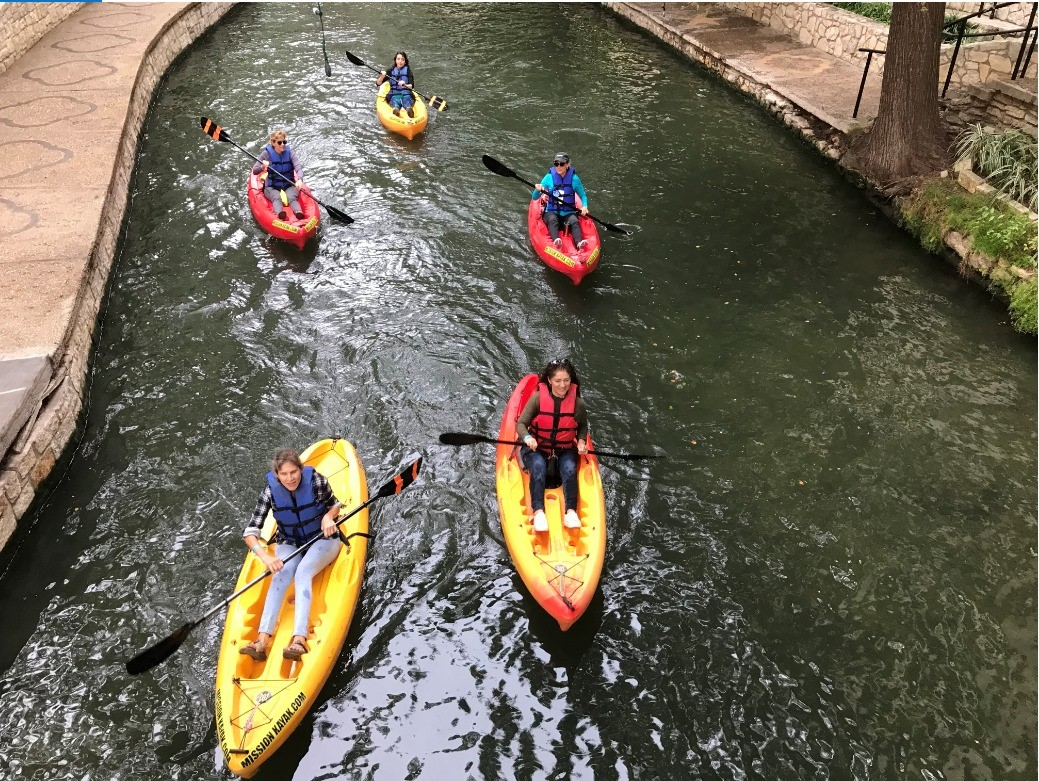 Kayakers on the San Antonio River Walk downtown loop.