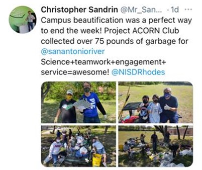 Rhodes Elementary students participate in campus cleanup as part of Project Acorn