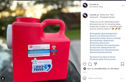 RiverAid Instagram post thanking the River Authority for donating a sharp kit to support their cleanup efforts.