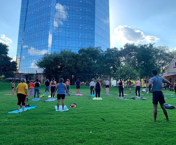 Participants of the Yoga on the Creek series at Legacy Park