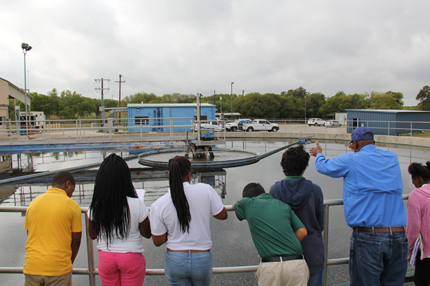 River Authority staff conduct a wastewater treatment plant tour.