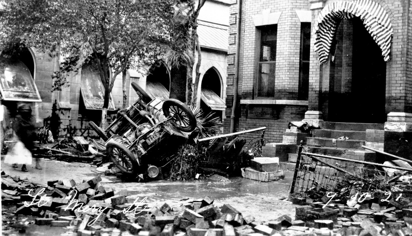 Damages from the September 9, 1921 flood in downtown San Antonio