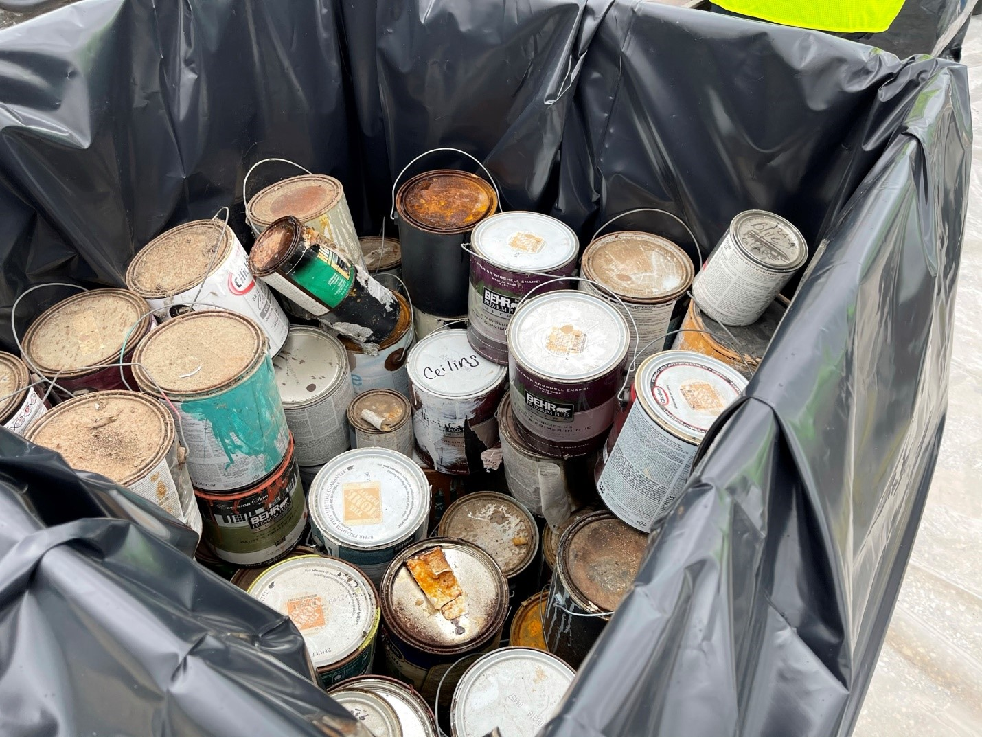 Used paint collected at a River Authority Household Hazardous Waste Collection Event