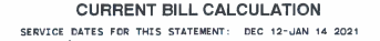 Sample Winter Average bill calculation document statement.