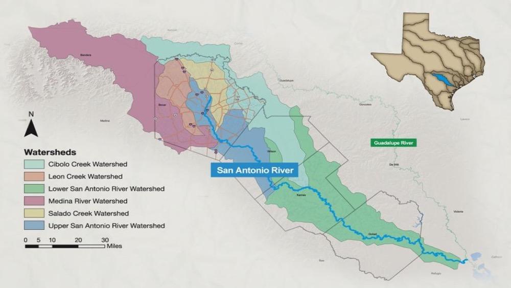 San Antonio River Basin Watershed map