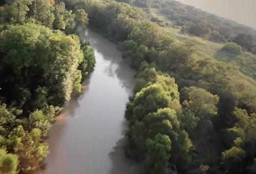 Drone footage of the San Antonio River
