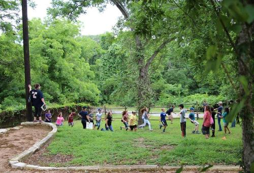 Students take part in a field trip at Branch River Park in Goliad.