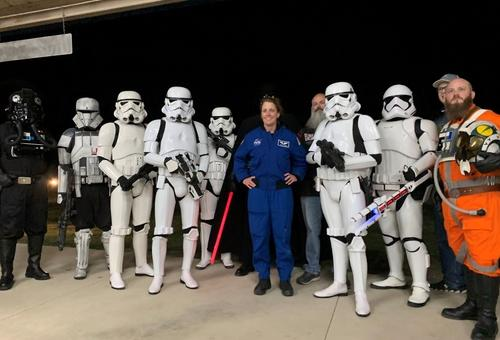 NASA Astronaut Loral O'Hara with members of the Star Garrison of the 501st Legion at the 5th Annual Planets in the Park in 2020.