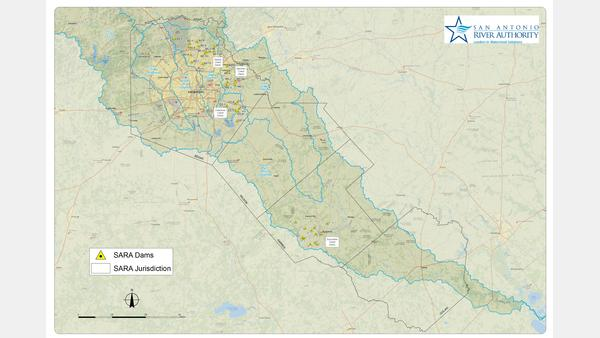 A map of San Antonio River Authority Dams