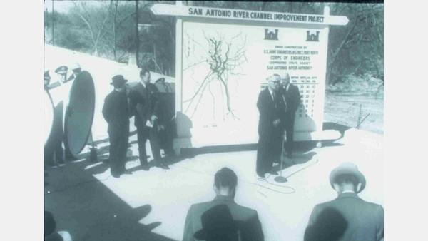 Opening of the San Antonio River Channel Improvement Project in 1954.