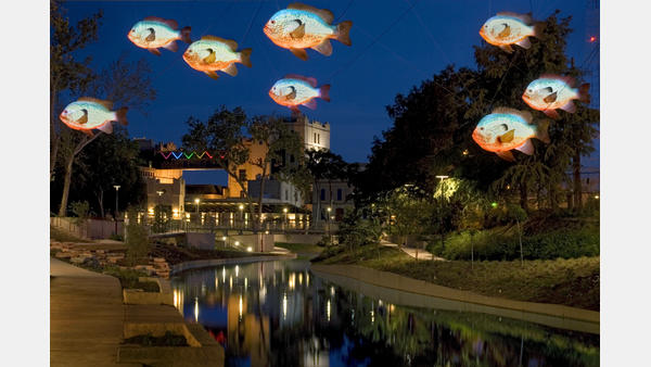 Fish artwork along the San Antonio River Walk - Museum Reach