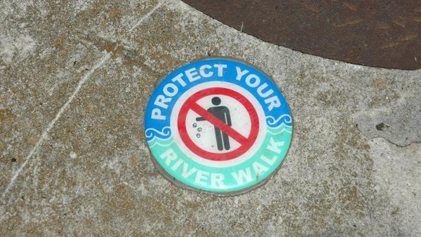 River Walk littering sign