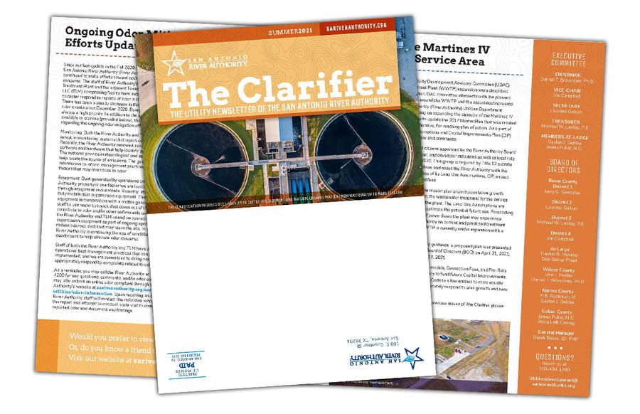 Overlapping image of The Clarifier Newsletter showing the cover and inner spread