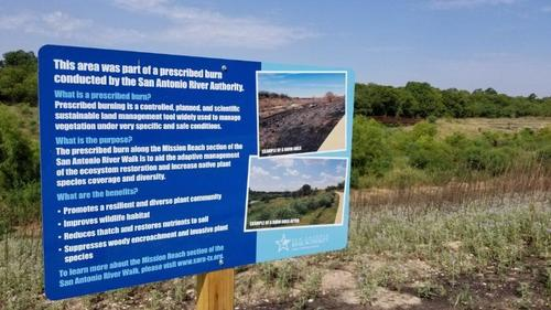 Educational sign placed after a prescribed burn on the Mission Reach