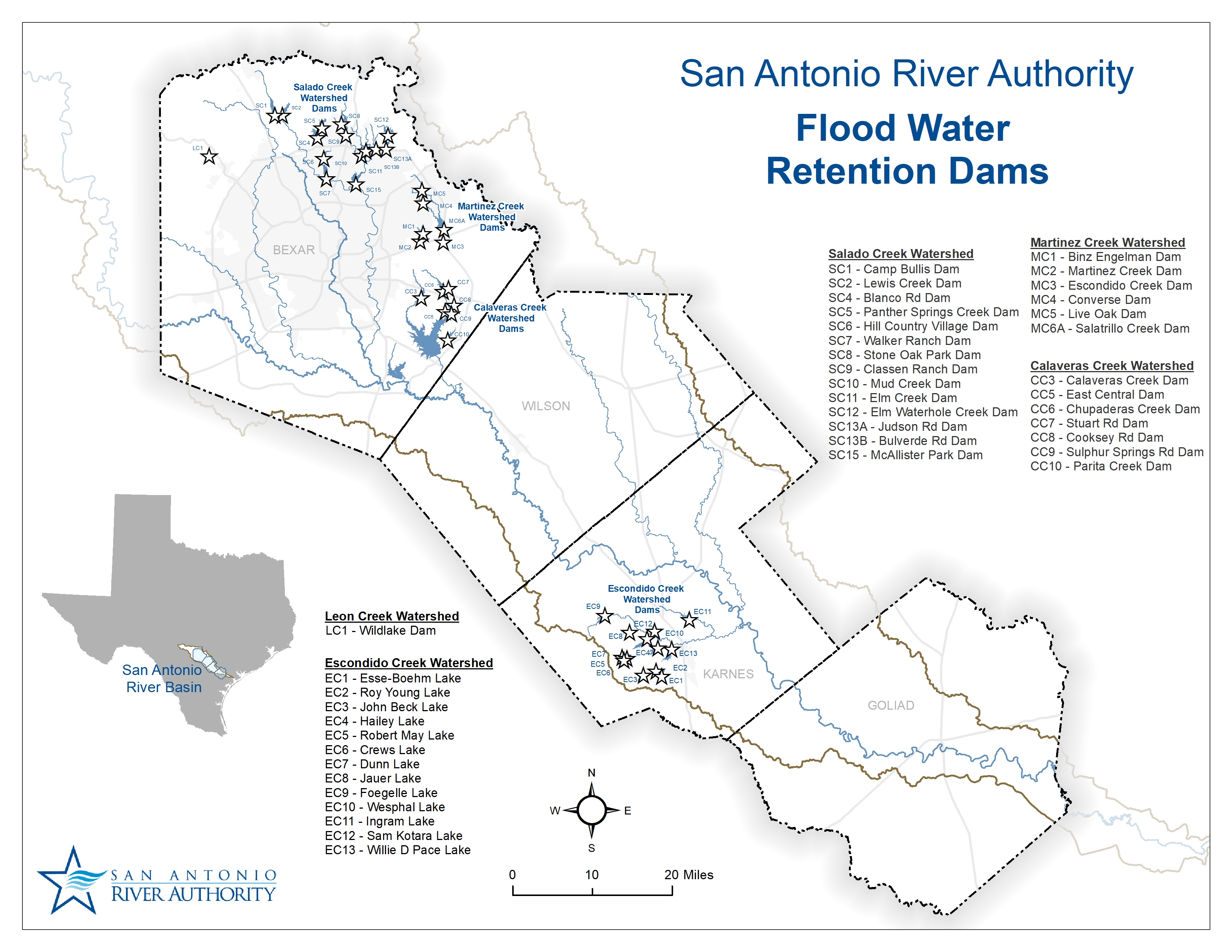 San Antonio River Authority Flood Water Retention Dams