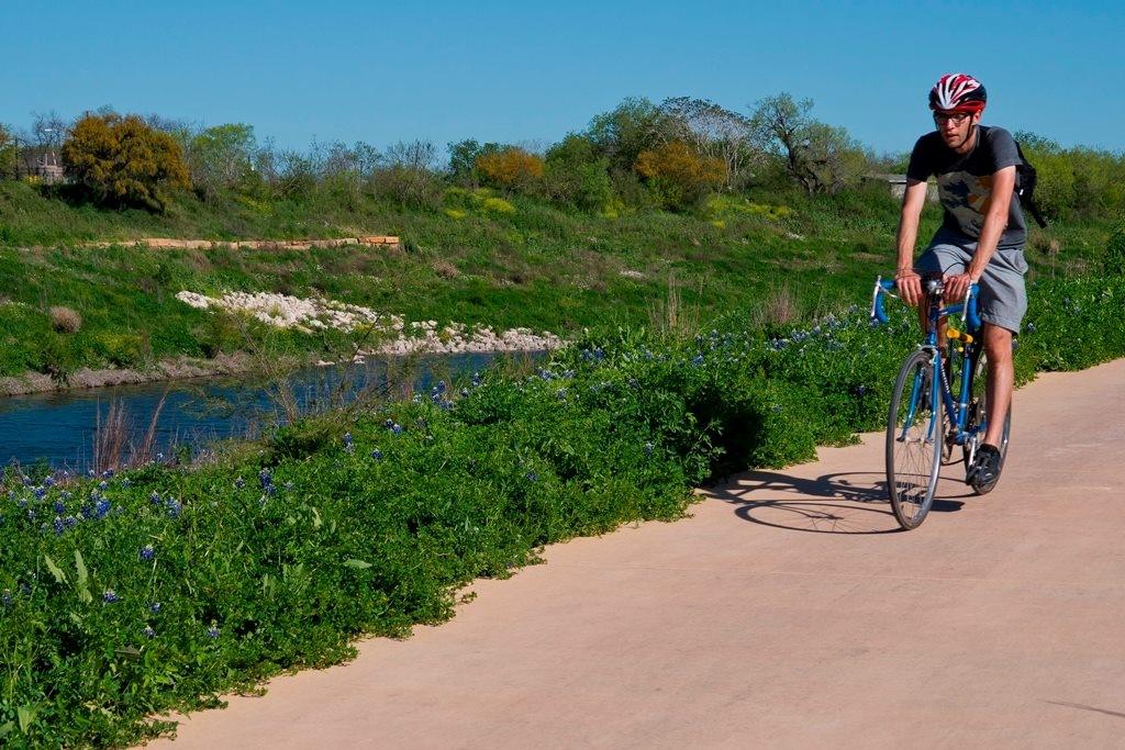 Cyclist on the Mission Reach segment
