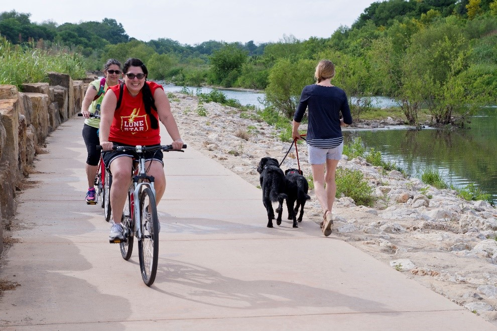 Trail users on the Mission Reach Segment