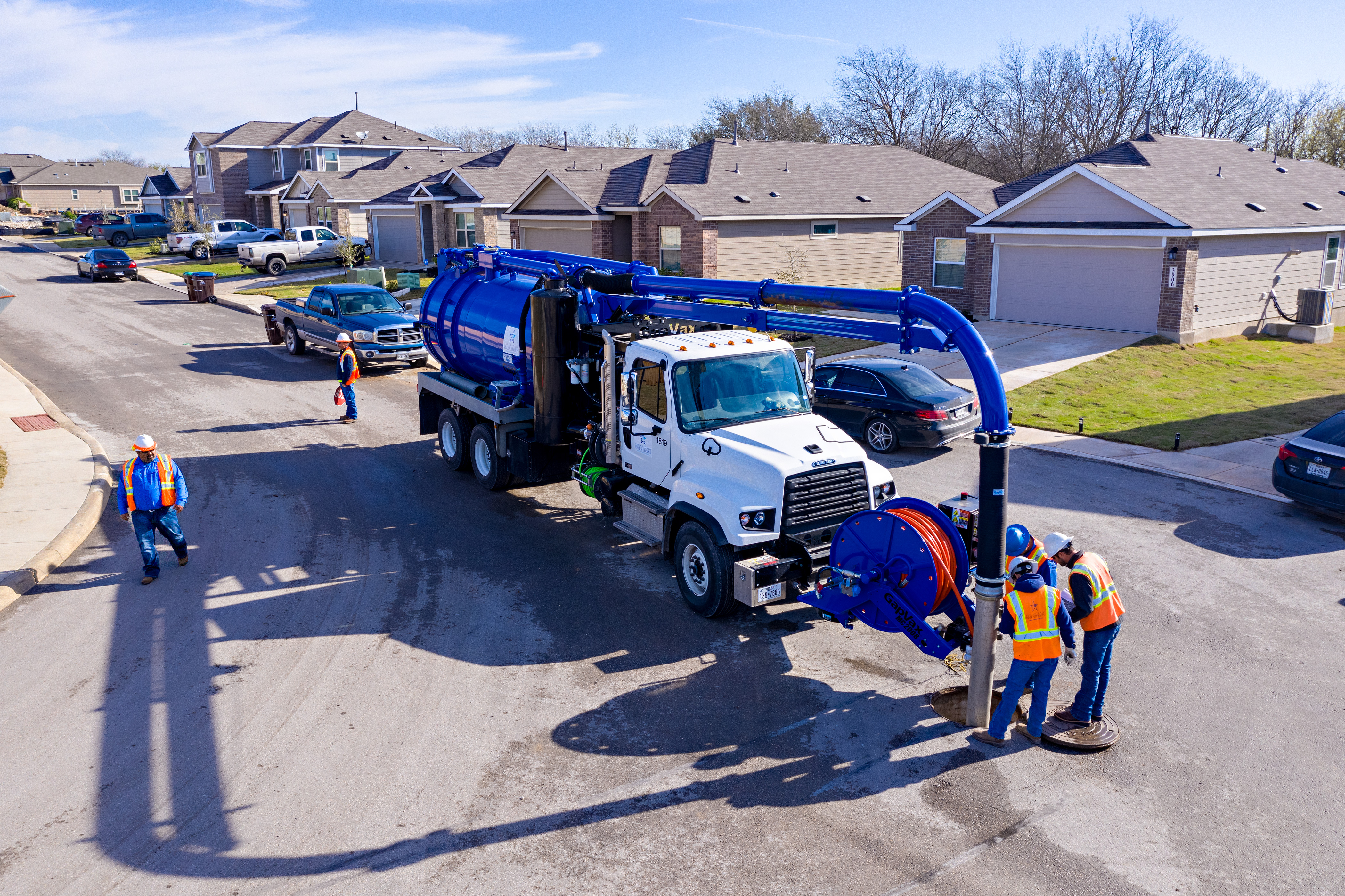 River Authority Utilities Crew Conducting Line Maintenance