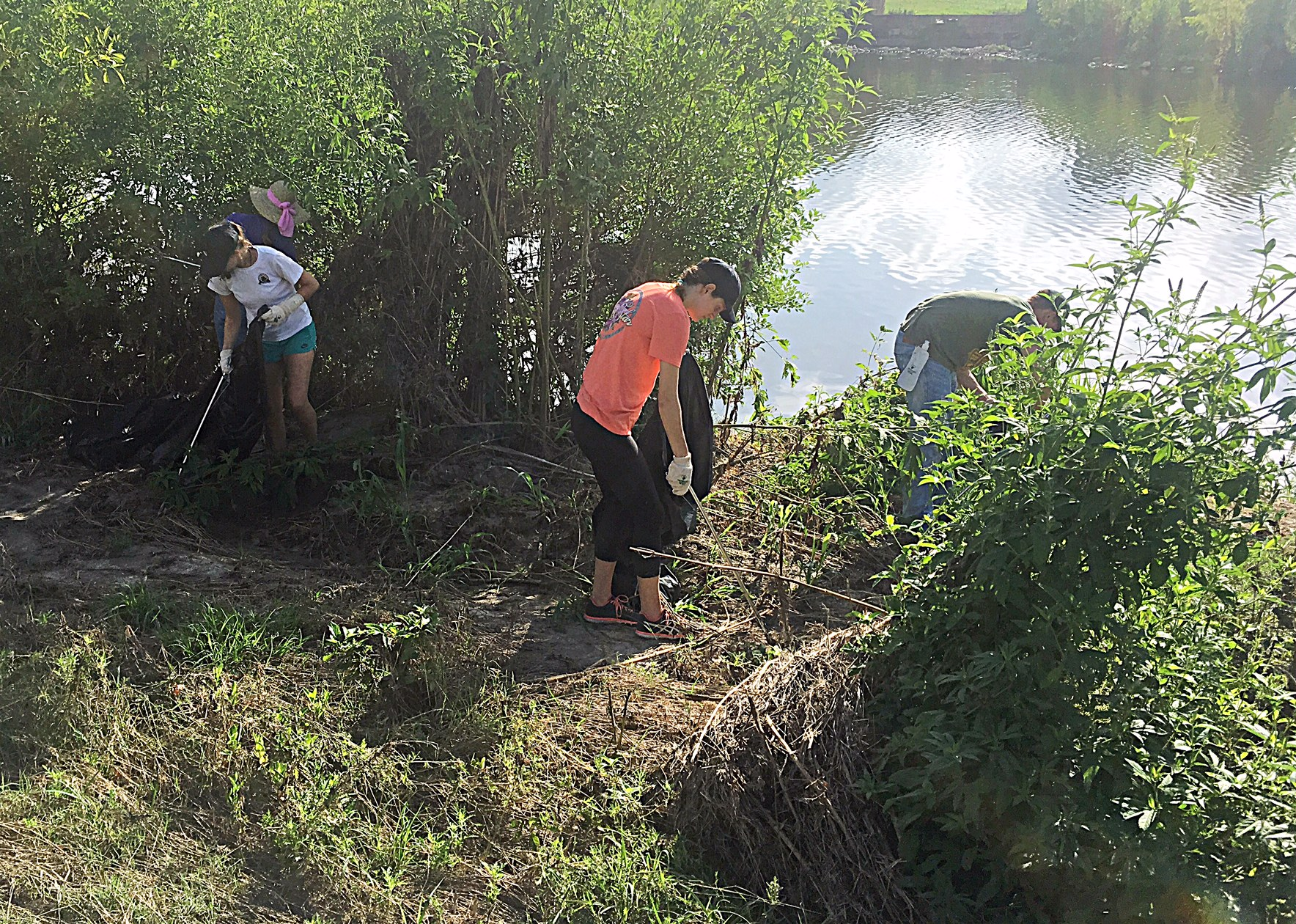 River Warrior volunteers taking part in post storm cleanup event along the river