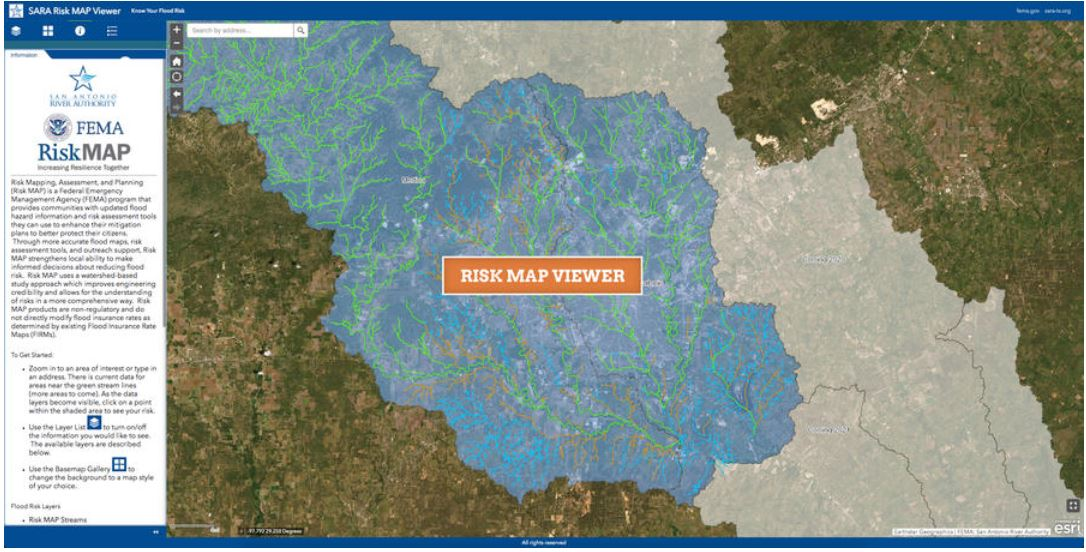 Screenshot of River Authority's Risk Map Viewer
