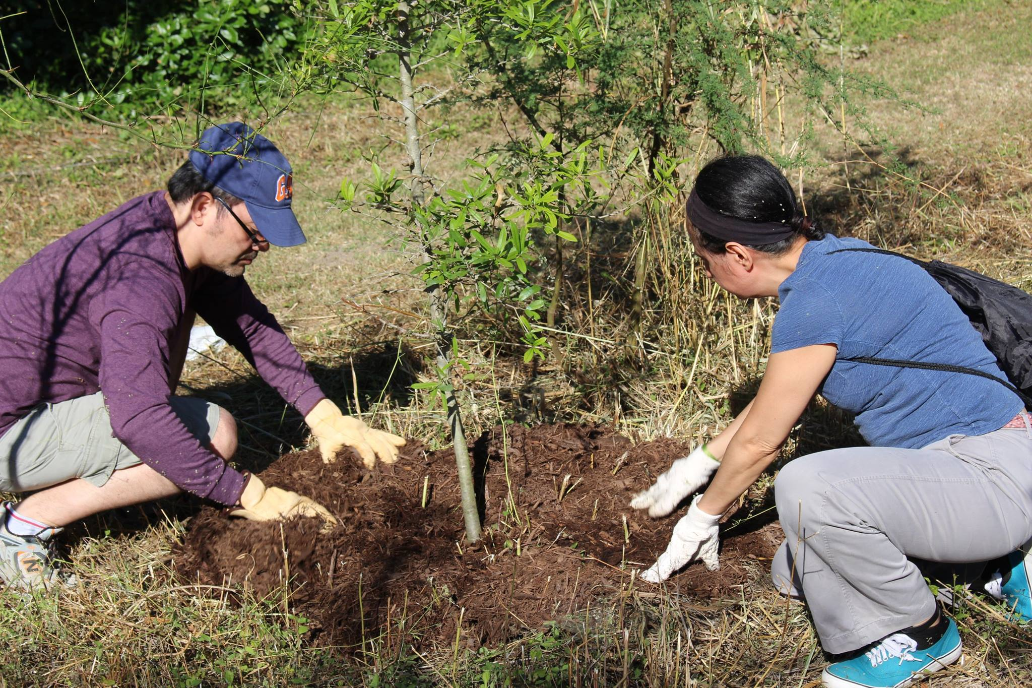 River Warrior volunteers taking part in tree planting event