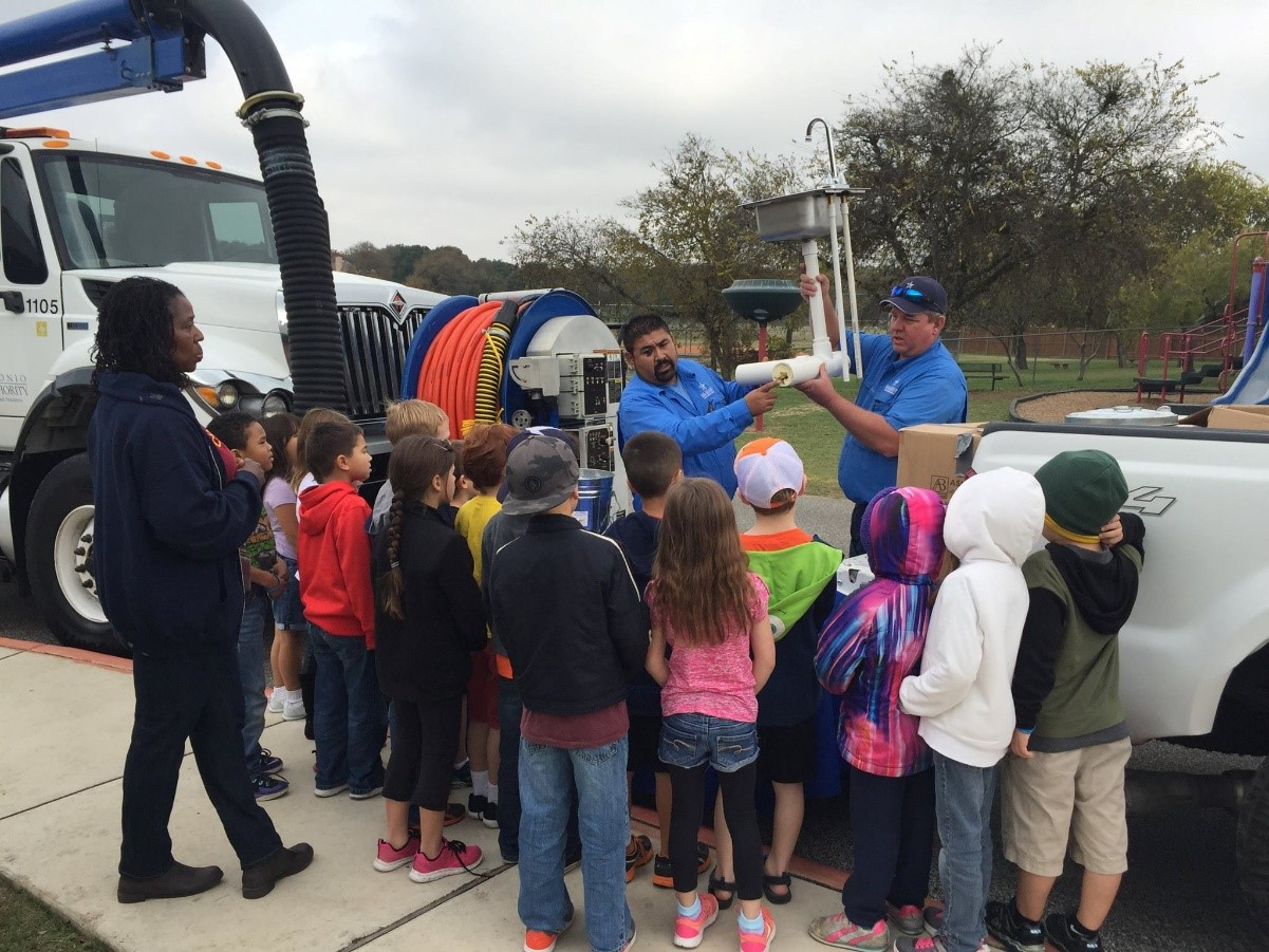 Staff from the River Authority Utilities Department demonstrate to students from Watts Elementary how pouring and washing fats, oils, and grease down the drain can cause grease build-up in pipes leading to major damage.