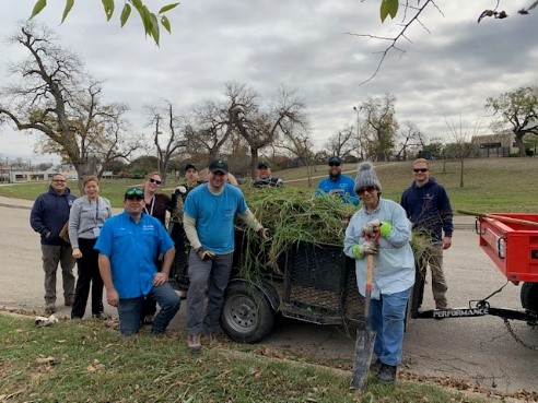 River Warrior volunteers after an invasive species removal project