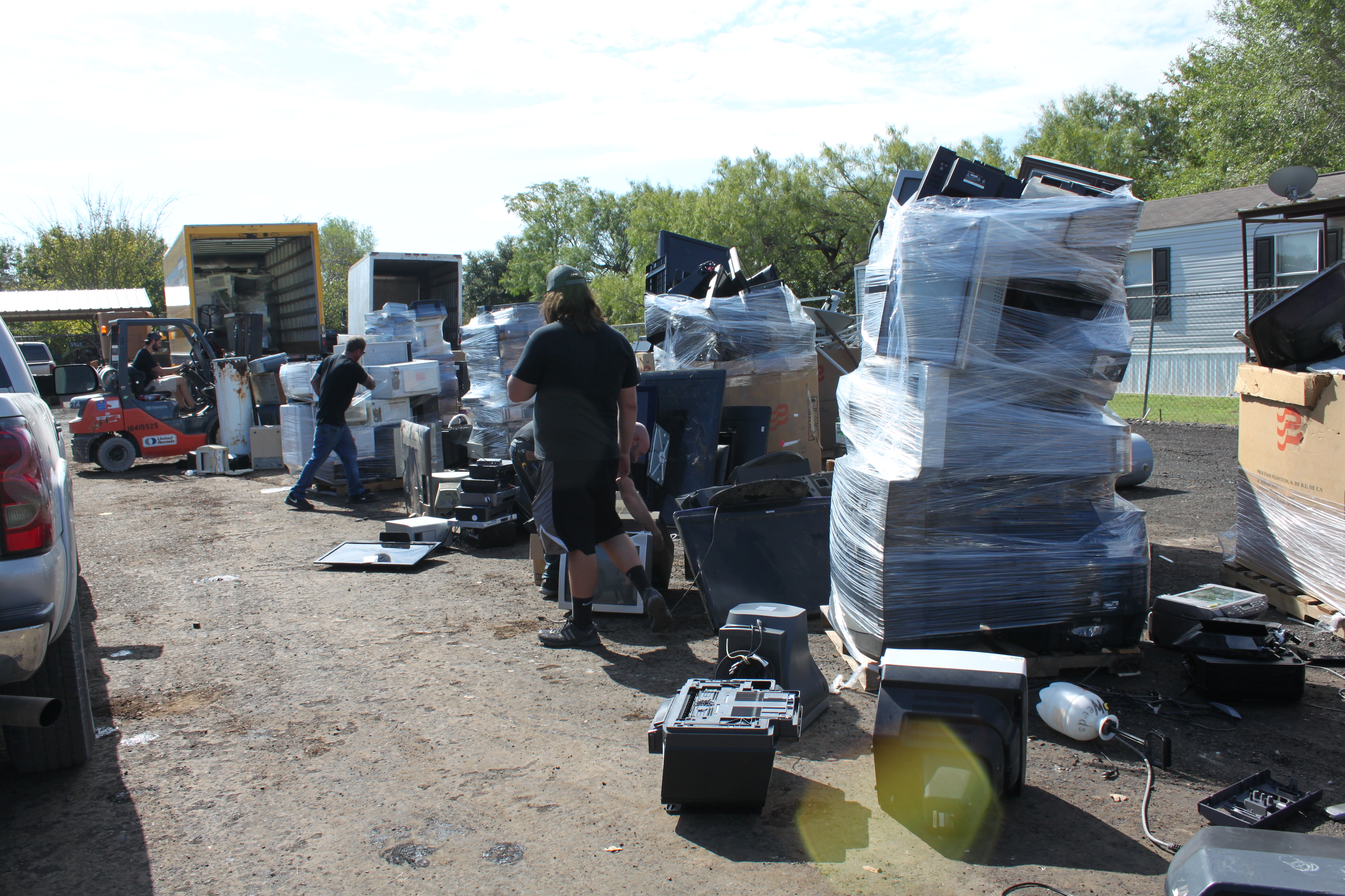 Used electronics are collected as part of the Wilson County Household Hazardous Waste fall 2019 collection event.