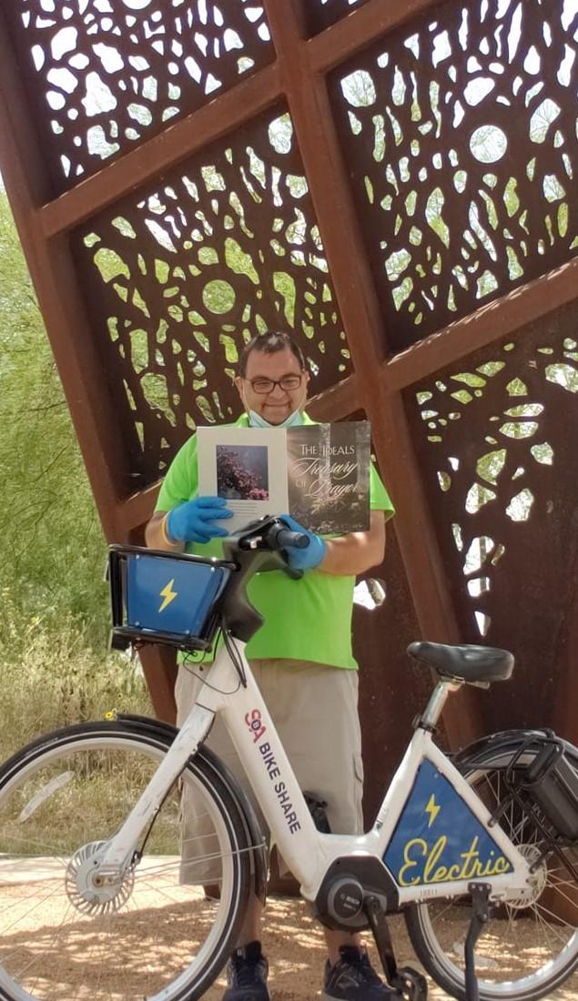 Jacob Rux enjoys visiting the Mission Reach art portals while using San Antonio Bike Share bike rentals.